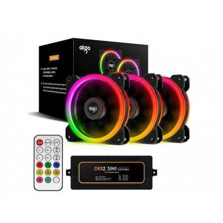 Aigo Aurora DR12 3IN1 Case Fan Kit - 3 RGB LED 120mm High Performance High Airflow Adjustable