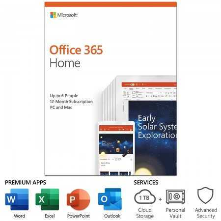 Microsoft Office 365 Home | 12-month subscription, up to 6 people, PC/Mac Key Card